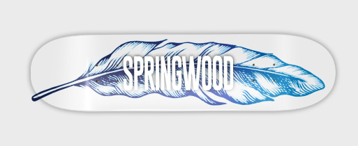 Springwood Blue Feather Skateboard Deck 8.1